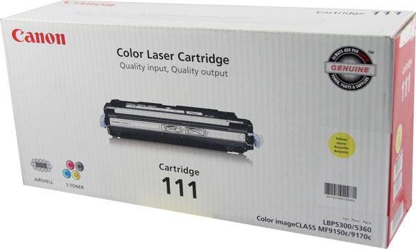 Genuine OEM Canon 1657B001AA (CRG-111Y) Yellow Toner Printer Cartridge (6000 page yield)