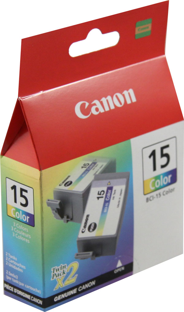 Genuine OEM Canon 8191A003 (BCI-15C) Tri-Color Inkjet Cartridge (2 pk) (350 page yield)