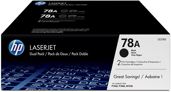 Genuine OEM HP CE278D (HP 78A) Smart Print Cartridge (Dual Pack) (2 Pack of C278A) (2100 x 2 Page Yield)