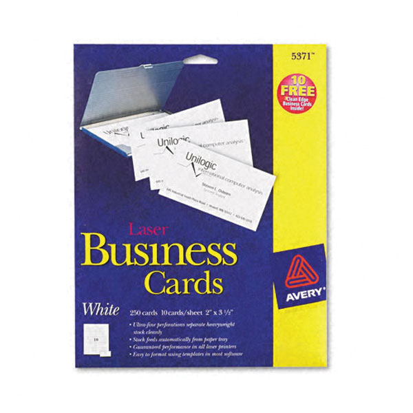 Genuine OEM Avery 5371 White Business Cards for Laser (25 Sheets/Pkg) (25 Sheets/Pkg) (10/Sheet)